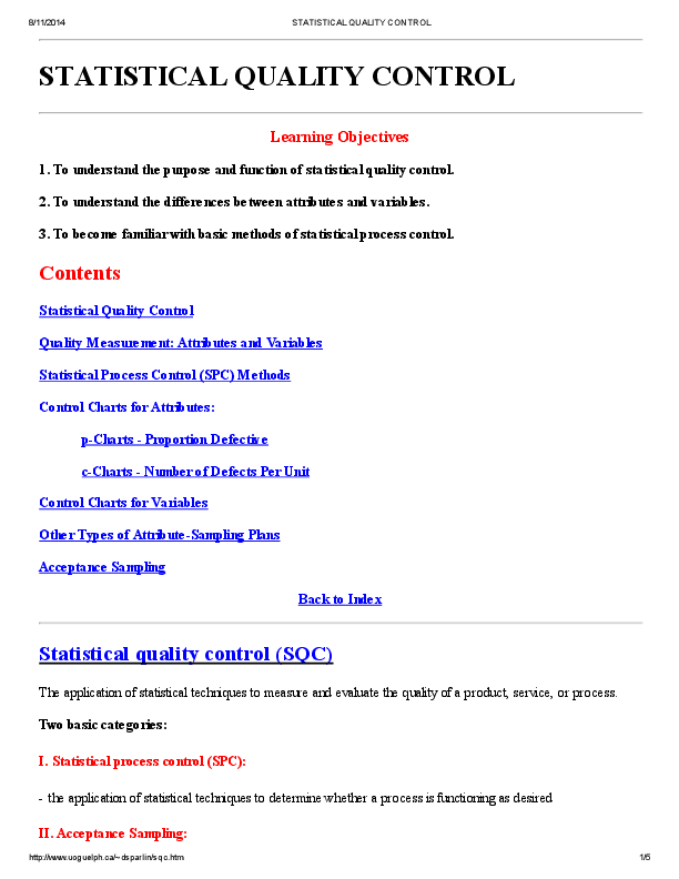PDF) STATISTICAL QUALITY CONTROL Learning Objectives | Sunil