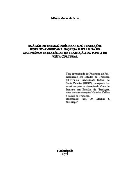 b72581466fd Análise de Termos Indígenas nas Traduções Hispano-Americana