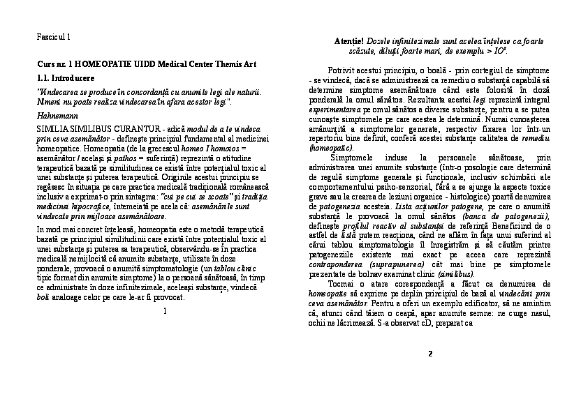 PDF) Curs nr  1 HOMEOPATIE UIDD Medical Center Themis Art