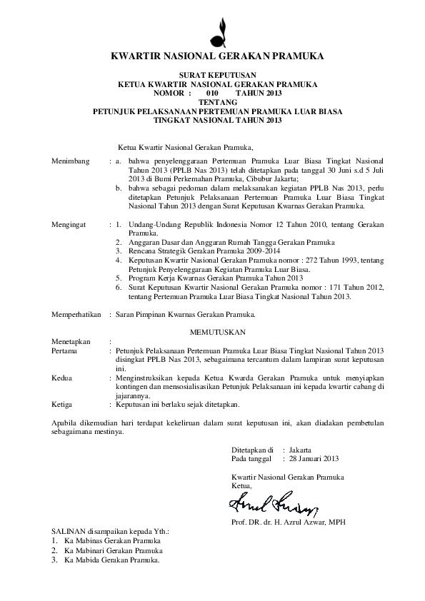 Pdf Kwartir Nasional Gerakan Pramuka Surat Keputusan Ketua
