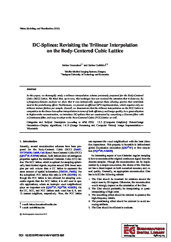 PDF) DC-splines: Revisiting the trilinear interpolation on
