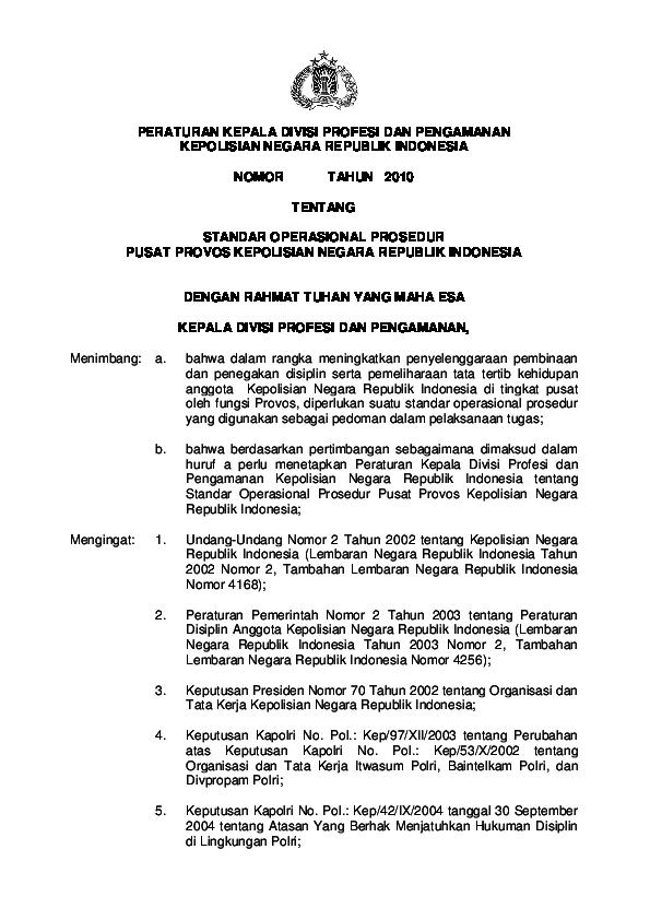 Pdf Peraturan Kepala Divisi Profesi Dan Pengamanan