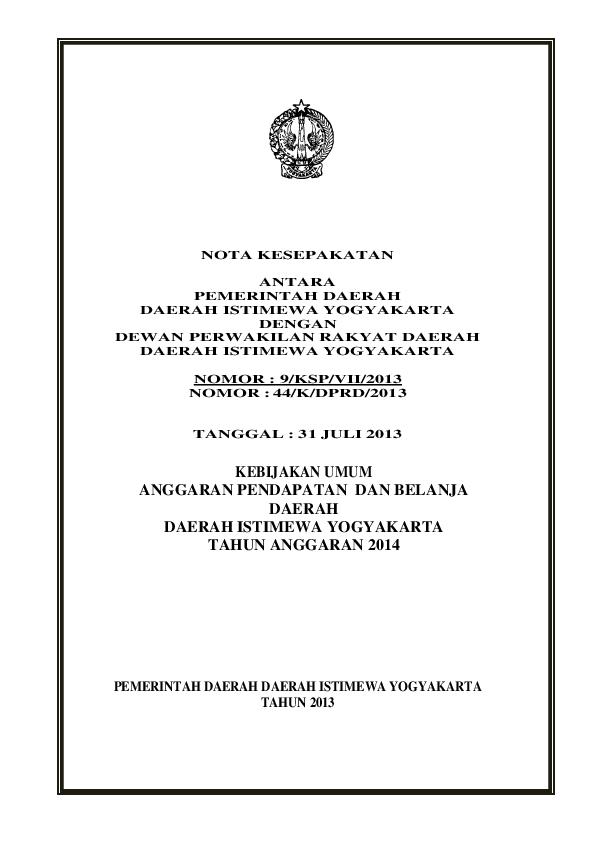 Pdf Nota Kesepakatan Antara Pemerintah Daerah Daerah
