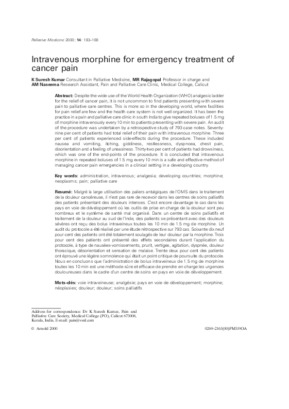 Pdf Intravenous Morphine For Emergency Treatment Of Cancer