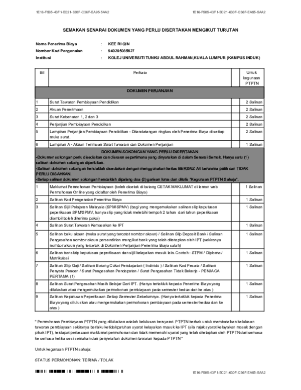 Pdf E16 Semakan Senarai Dokumen Yang Perlu Disertakan Mengikut Turutan Cyrus Hong Academia Edu