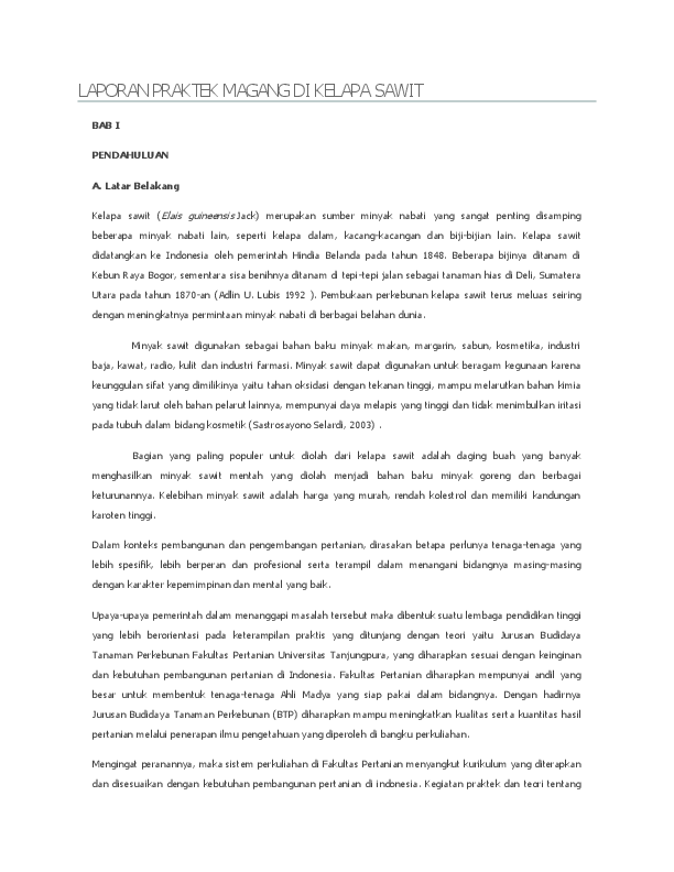 Doc Laporan Praktek Magang Di Kelapa Sawit Sahrul Baharuddin Academia Edu