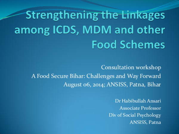 PPT) Strengthening Linkages among ICDS, MDM and other Food