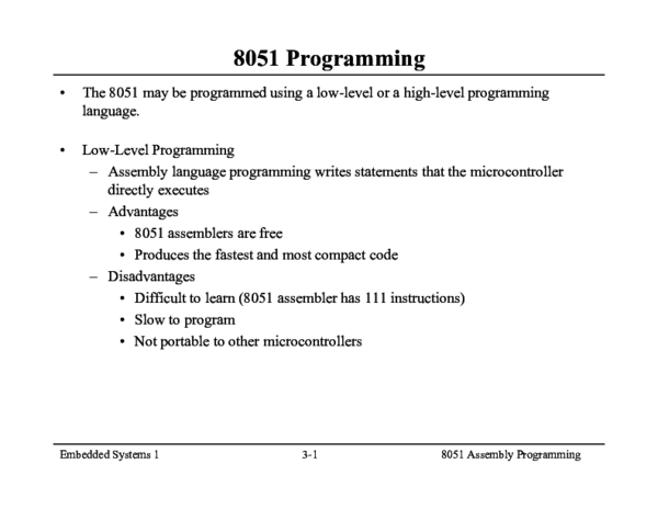 PDF) Embedded Systems 1 3-1 8051 Assembly Programming | Romeu