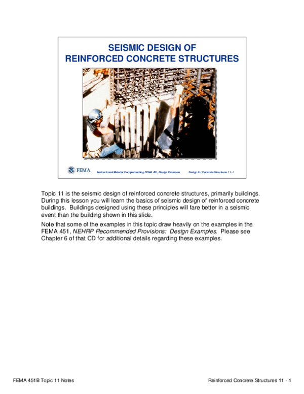 Pdf Fema 451b Topic 11 Notes Reinforced Concrete Structures 11 1 Instructional Material Complementing Fema 451 Design Examples Design For Concrete Structures 11 1 Seismic Design Of Reinforced Concrete Structures Fabian Chaparro Academia Edu