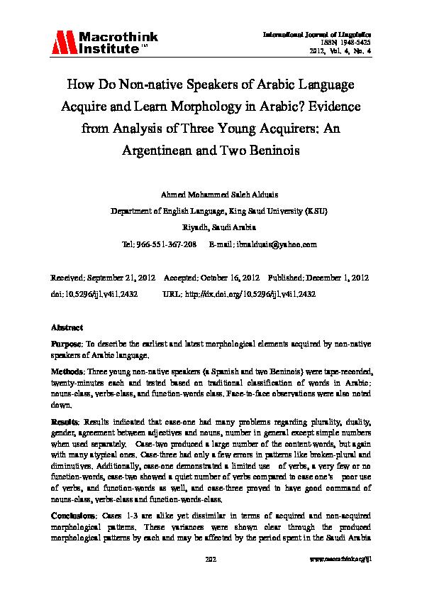 PDF) Morphology Acquisition | Ahmed ALDUAIS - Academia edu
