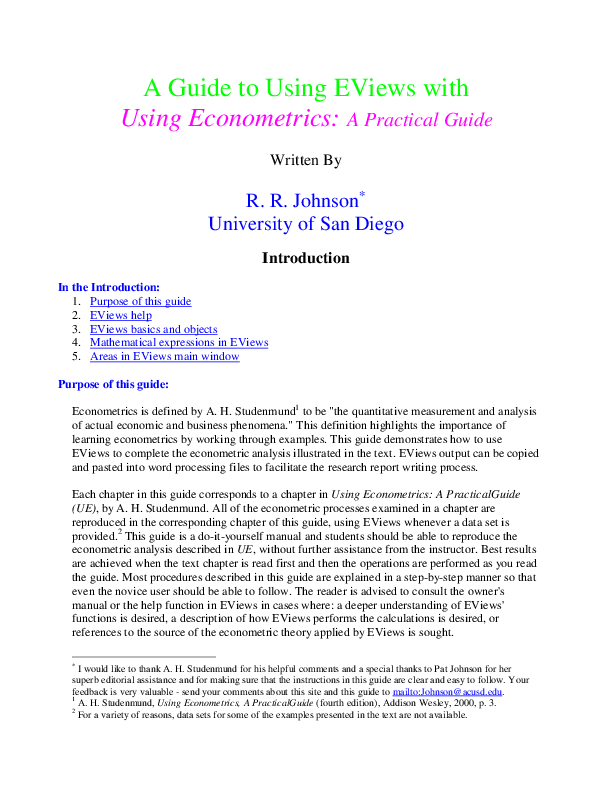 PDF) A Guide to Using EViews with Using Econometrics: A