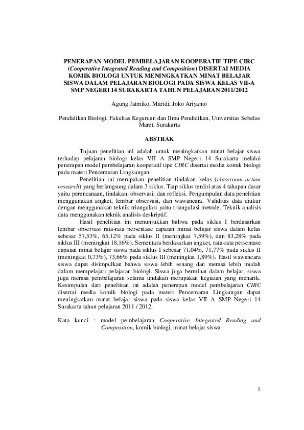 Pdf Jurnal Pendidikan Biologi Agung J K4308023 Inung Tube Academia Edu