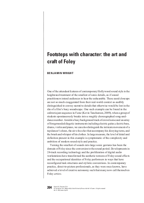 PDF) Footsteps with character: the art and craft of Foley | Benjamin