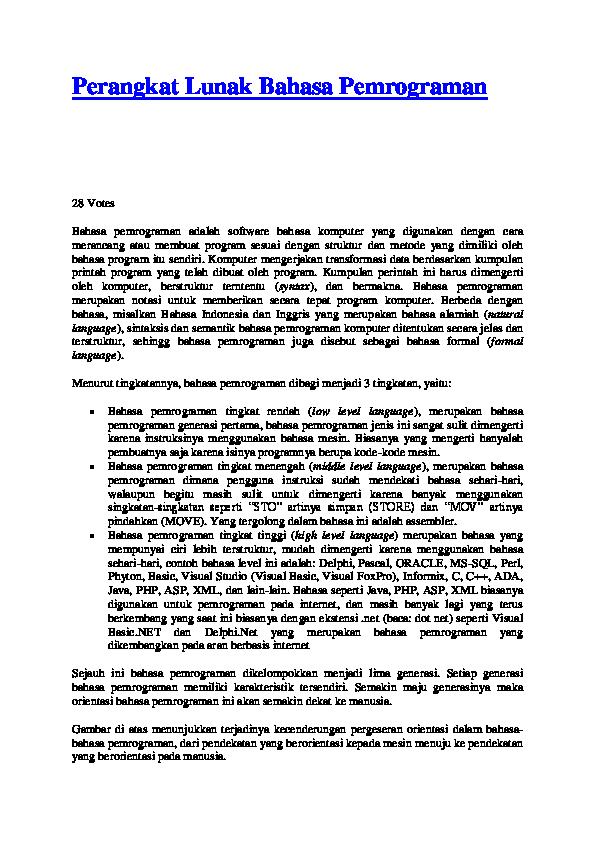 Perangkat Lunak Bahasa Pemrograman Ruth Laura Tarigan Academiaedu