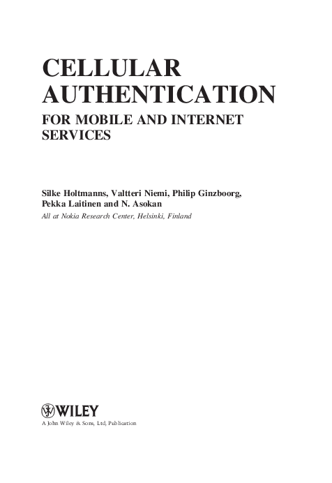 PDF) CELLULAR AUTHENTICATION FOR MOBILE AND INTERNET