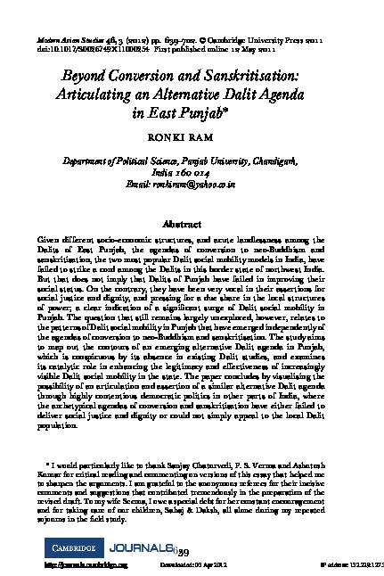 PDF) Beyond Conversion and Sanskritisation: Articulating an