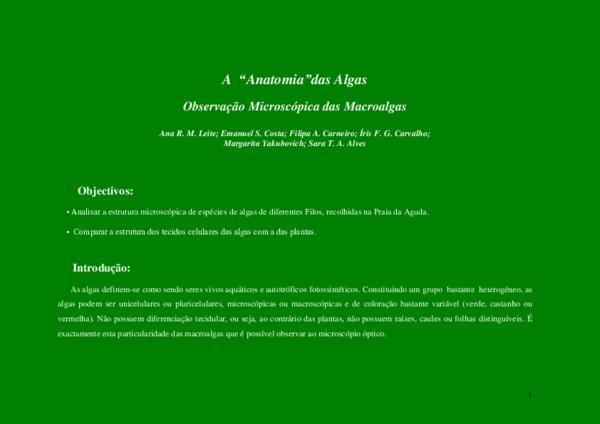 Pdf A Anatomia Das Algas Observação Microscópica Das