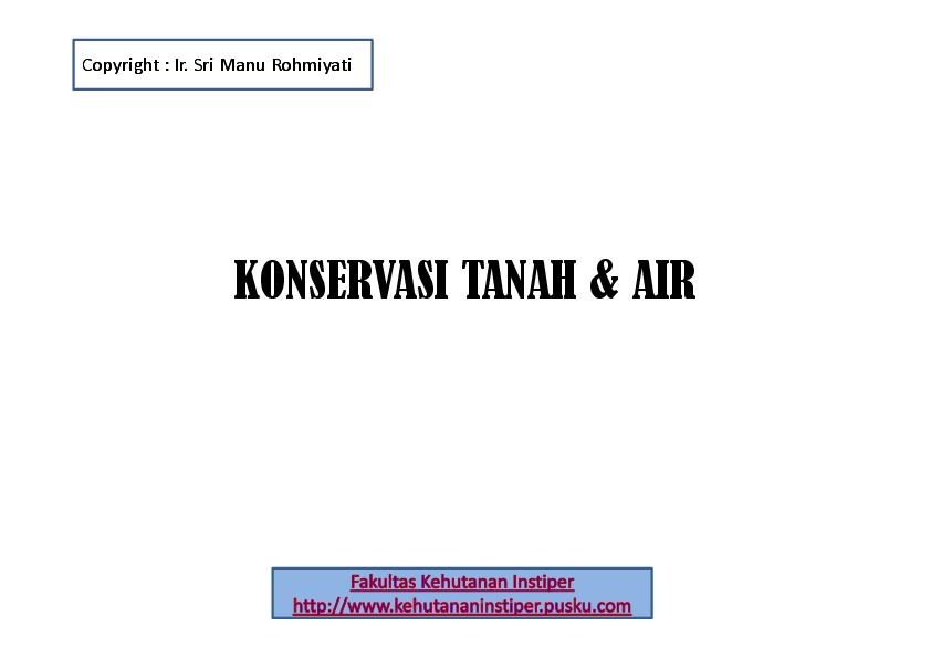 PDF) Konservasi Tanah dan Air   Edi Sumarno S Hut - Academia edu