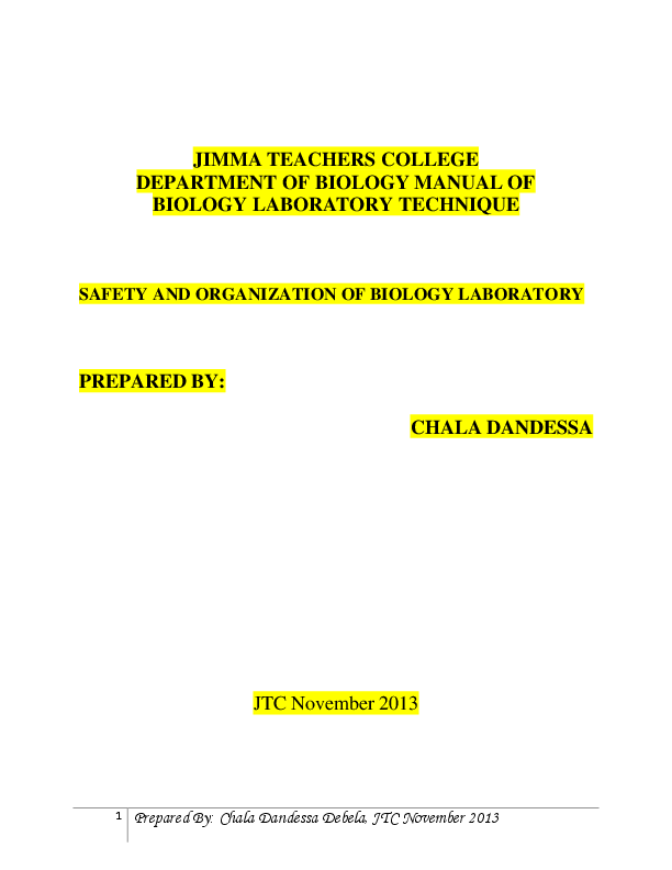 PDF) BIOLOGY LABORATORY TECHNIQUE, SAFETY AND ORGANIZATION