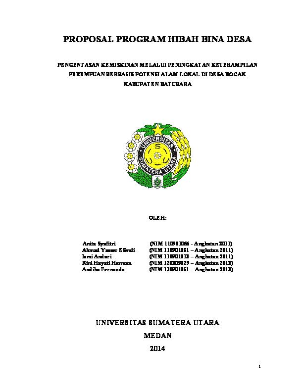 Pdf Proposal Program Hibah Bina Desa Dikti 2014 Oleh Imasi Fisip Usu Anita Syafitri Academia Edu