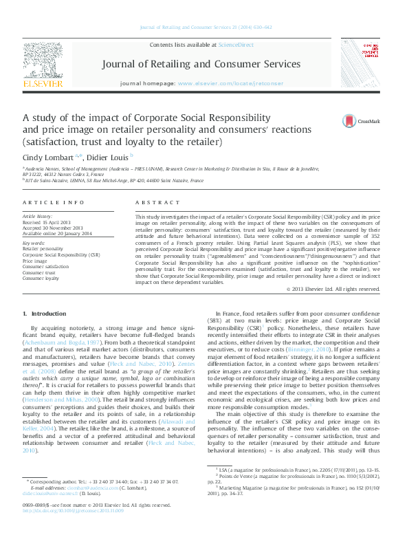 PDF) A study of the impact of Corporate Social