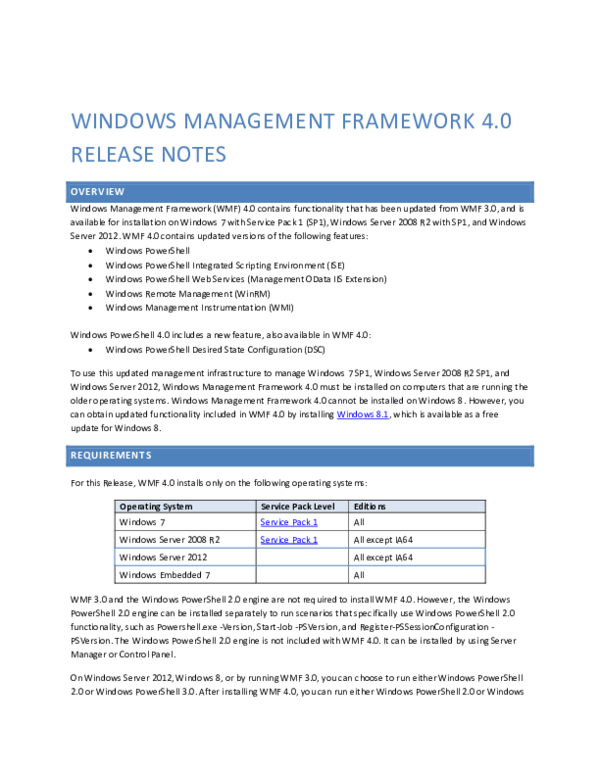 DOC) wINDOWS MANAGEMEnt Framework 4 0 Release Notes Overview Windows