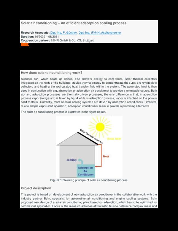 Doc Solar Air Conditioning An Efficient Adsorption Cooling Process Research Associate Dipl Vijay Patil Academia Edu