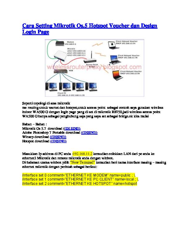 PDF) Cara Setting Mikrotik Os 5 Hotspot Voucher dan Design Login