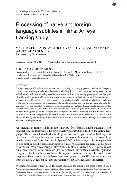 Pdf Processing Of Native And Foreign Language Subtitles In Films An Eye Tracking Study Marie Josee Bisson Academia Edu
