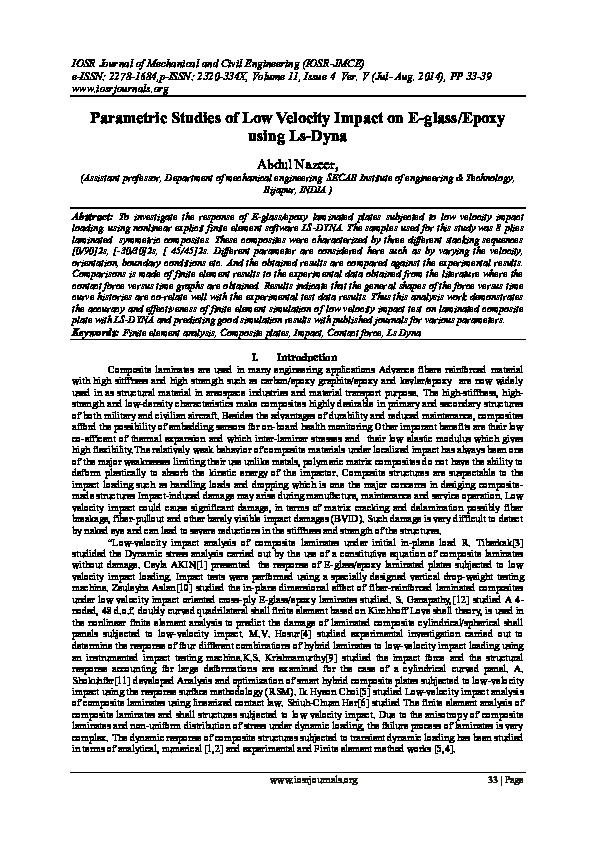 PDF) Parametric Studies of Low Velocity Impact on E-glass/Epoxy