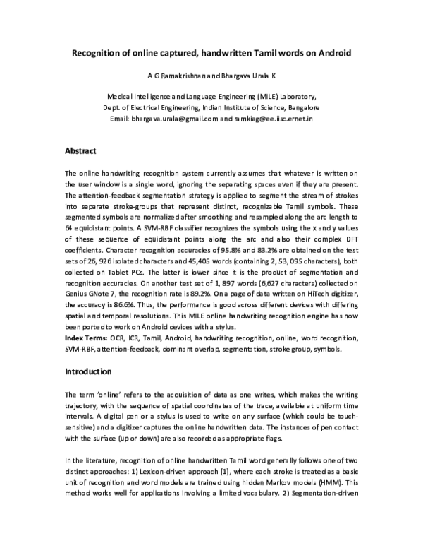 PDF) Recognition of online captured, handwritten Tamil words
