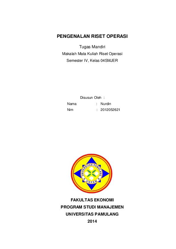 Doc Tugas Individu Riset Operasi Unpam Nurdin Nurdin Academia Edu
