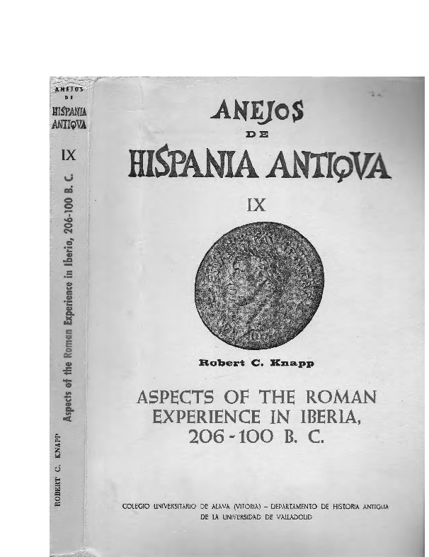 PDF) Aspects of the Roman Experience in Iberia, 206-100 B C