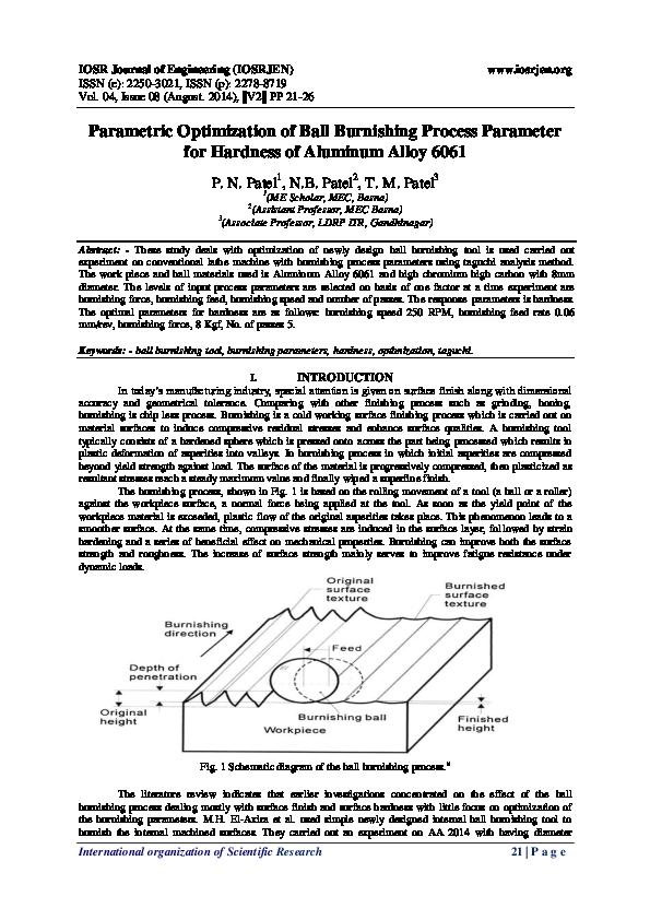 PDF) Parametric Optimization of Ball Burnishing Process