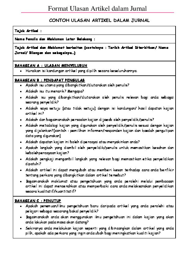 Doc Format Ulasan Artikel Dalam Jurnal Contoh Ulasan Artikel Dalam Jurnal Mijah Noer Academia Edu