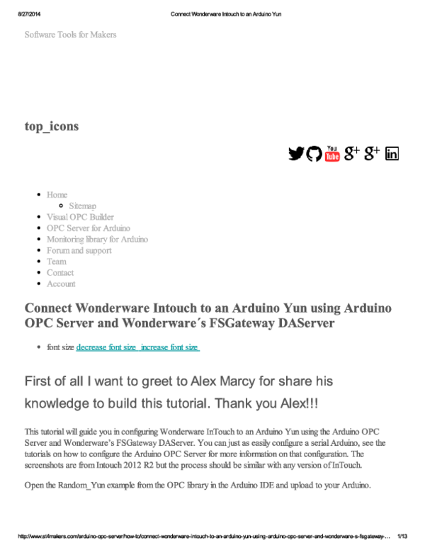 PDF) Connect Wonderware Intouch to an Arduino Yun   Yanwar