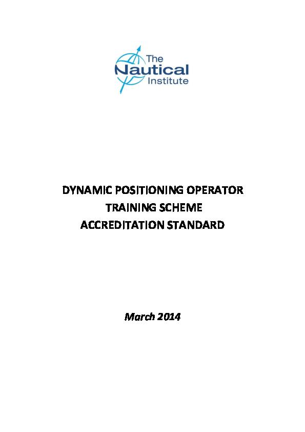 PDF) DYNAMIC POSITIONING OPERATOR TRAINING SCHEME ACCREDITATION