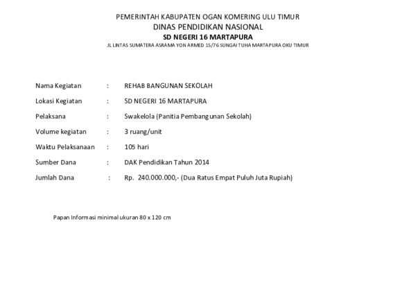 Doc Pemerintah Kabupaten Ogan Komering Ulu Timur Dinas Pendidikan Nasional Sd Negeri 16 Martapura Jl Lintas Sumatera Asrama Yon Armed 15 76 Sungai Tuha Martapura Oku Timur Sdn Martapura Academia Edu