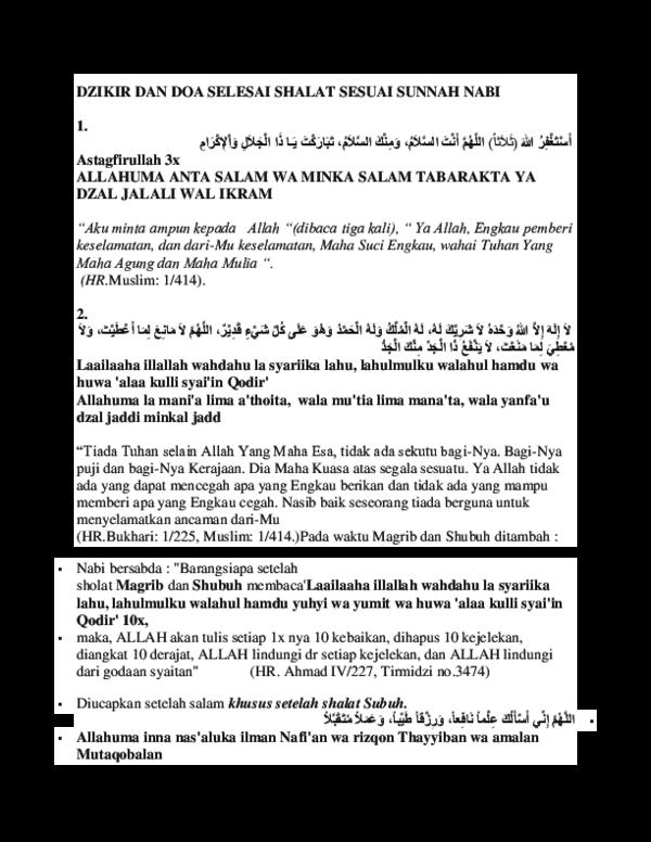 Doc Dzikir Dan Doa Selesai Shalat Sesuai Sunnah Nabi Risa
