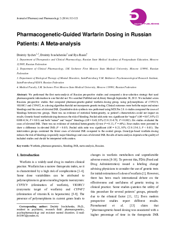 PDF) Pharmacogenetic-Guided Warfarin Dosing in Russian