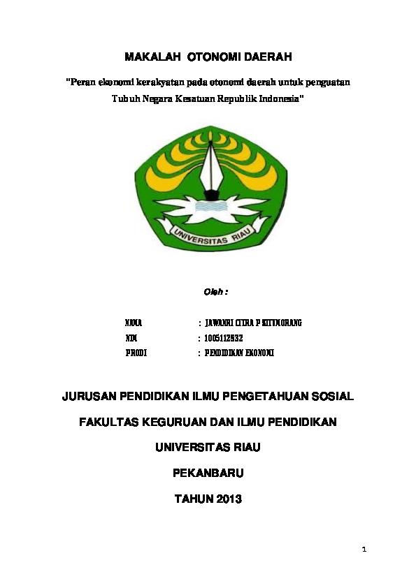 Doc Makalah Otonomi Daerah Jawanri Citra P Situmorang Jawanri Situmorang Academia Edu