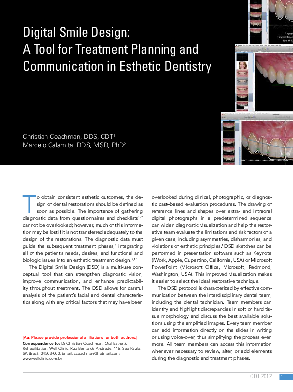Digital Smile Design A Tool For Treatment Planning And Communication In Esthetic Dentistry Jose Rivera Maldonado Academia Edu