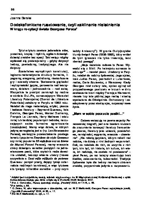 Pdf Dodekafoniczne Rusztowanie Czyli Zaklinanie