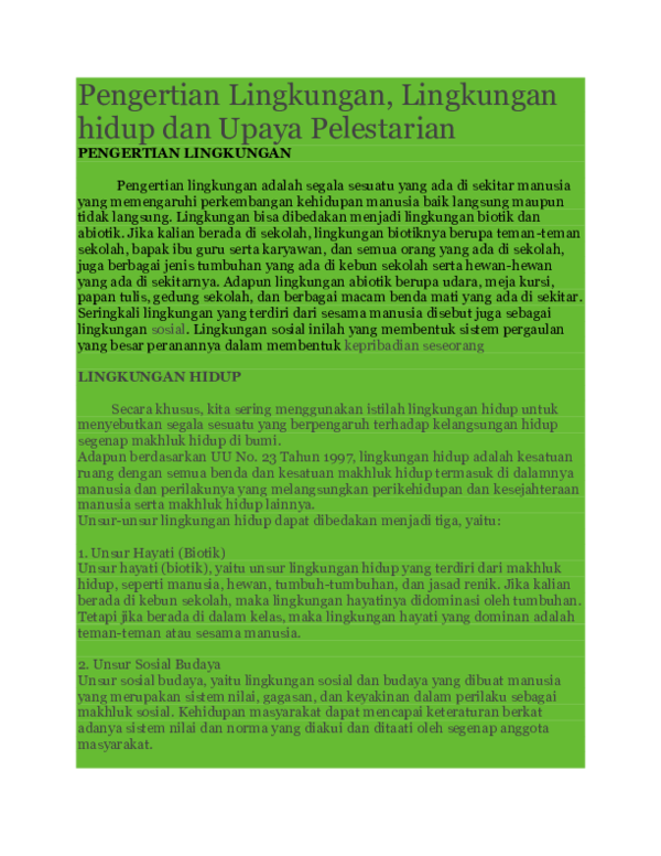 DOC) Pengertian Lingkungan   Ahda Dapong Maulana - Academia.edu