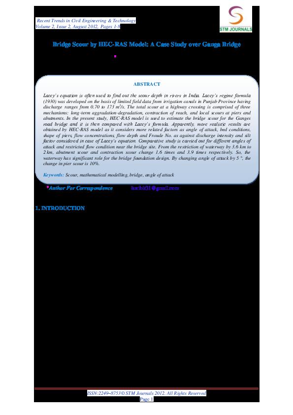 PDF) Bridge Scour by HEC-RAS Model: A Case Study over Ganga Bridge