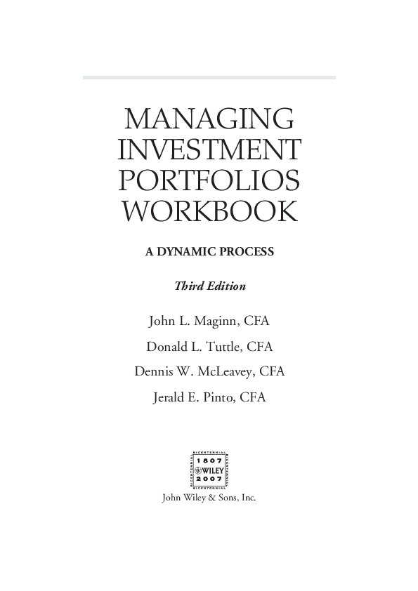 (PDF) MANAGING INVESTMENT PORTFOLIOS WORKBOOK A DYNAMIC