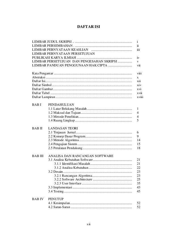 Doc Daftar Isi Lembar Judul Skripsi I Lembar Persembahan Ii Lembar Pernyataan Keaslian Iii Lembar Pernyataan Persetujuan Publikasi Karya Ilmiah Iv Lembar Persetujuan Dan Pengesahan Skripsi V Lembar Panduan Penggunaan Hak Cipta