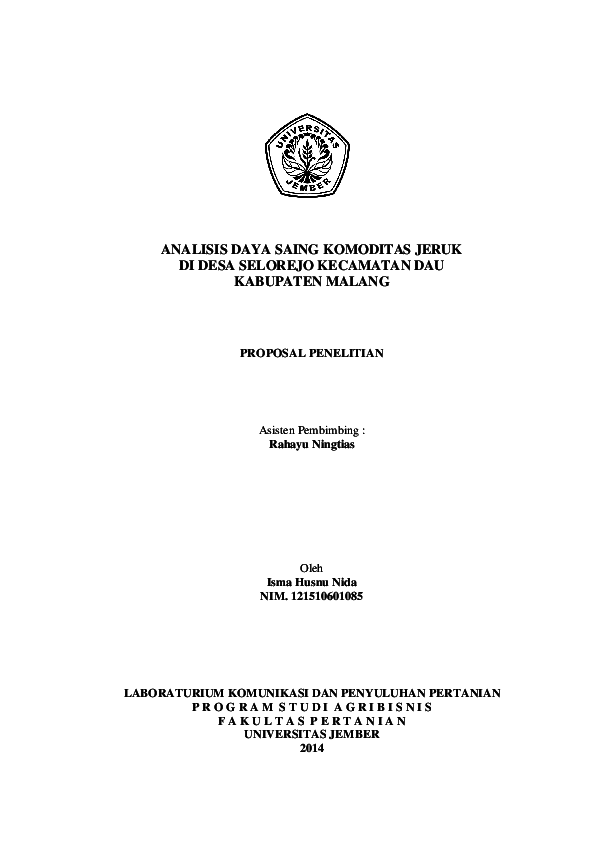 Doc Contoh Proposal Penelitian Agribisnis Rahayu Octaviani Academia Edu