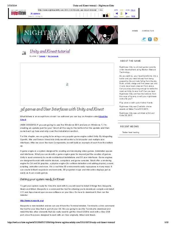 PDF) Unity and Kinect tutorial | noxx flow - Academia edu