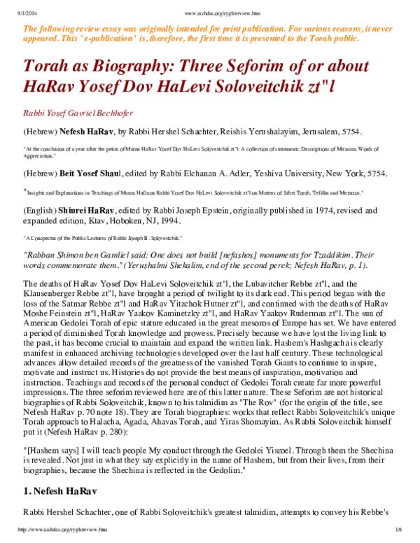 PDF) Three Books On or By Rabbi Joseph B  Soloveitchik